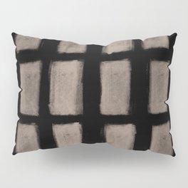 Brush Strokes Vertical Lines Nude on Black Pillow Sham