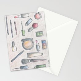 MAKE-UP - pencil and coloured pencil illustration Stationery Cards