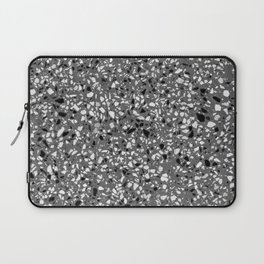 Dark Grey Monochrome Speckles Terrazzo Pattern Stone Effect Laptop Sleeve