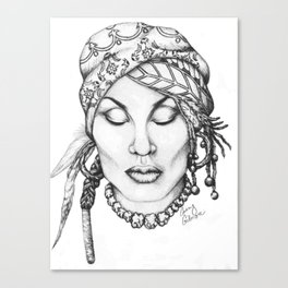 Zeke- A Black and White Illustration  Canvas Print