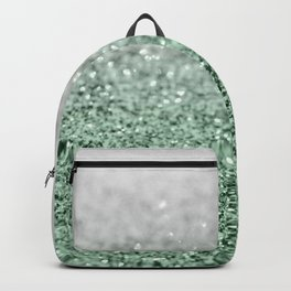 Silver Pastel Mint Green Ocean Glitter Glam #1 (Faux Glitter) #shiny #decor #art #society6 Backpack
