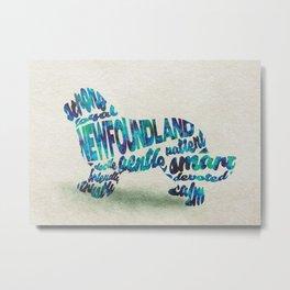 Newfoundland Dog Typography Art / Watercolor Painting Metal Print