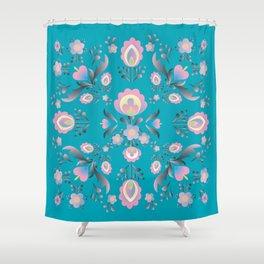 Dusty Blue Folk Flowers Shower Curtain