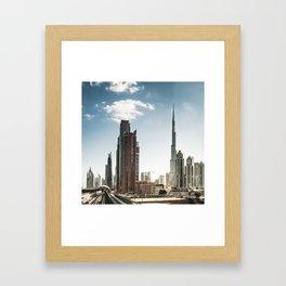 dubai landmark on the monorail Framed Art Print