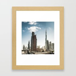 dubai landmark on the monorail Framed Art Print