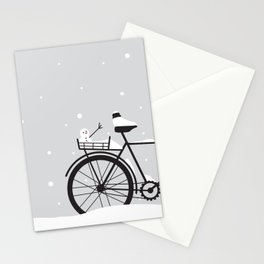 Bicycle & snow Stationery Cards