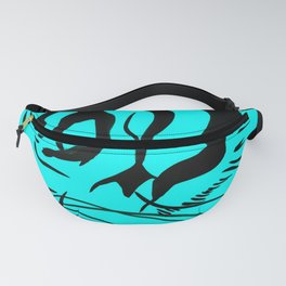 Eye Of The Tiger - Black & Turquoise Fanny Pack