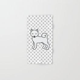 White Shiba Inu Cute Cartoon Dog Hand & Bath Towel
