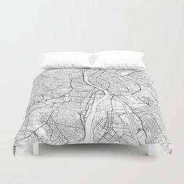Budapest Map White Duvet Cover