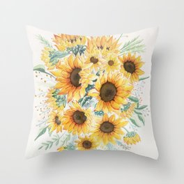 Loose Watercolor Sunflowers Throw Pillow