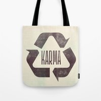 karma Tote Bags featuring karma by manish mansinh