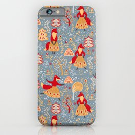 Dancing foxes in a fairy forest. Folk Art. Seamless pattern. iPhone Case