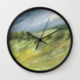 Precious Green Watercolor Landscape Wall Clock