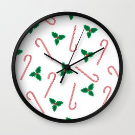 Candycanes and misletoe Wall Clock