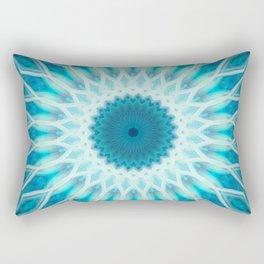 White and light blue mandala Rectangular Pillow