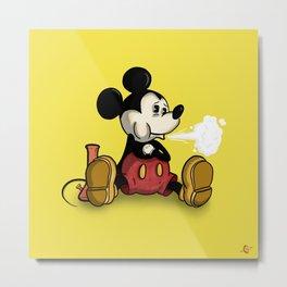 Mouse Smoking Metal Print