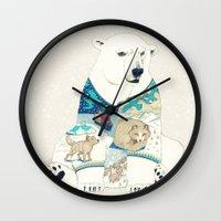 polar bear Wall Clocks featuring Polar Bear by Yuliya