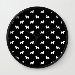 Bichon Frise dog pattern black and white minimal pet patterns dog breeds silhouette Wall Clock