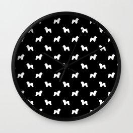 Bichon Frise dog pattern black and white minimal pet patterns dog breeds silhouette Wall Clock