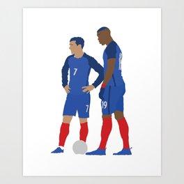 Griezmann & Pogba France Print Art Print