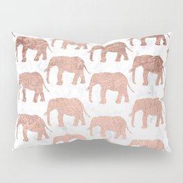 Modern faux rose gold elephants white marble Pillow Sham