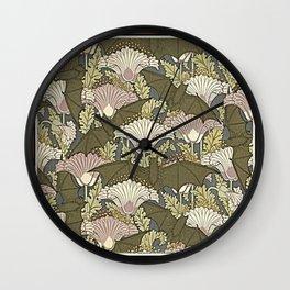 Burgundy Trimmed Art  Nouveau Bats & Poppy Patterns Wall Clock