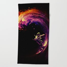 Space Surfing Beach Towel