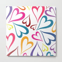 Rainbow Floating Hearts Pattern Digital Print Metal Print