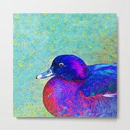 Colorful Fat Duck Portrait Painting Metal Print