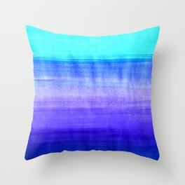 Ocean Horizon - cobalt blue, purple & mint watercolor abstract Throw Pillow