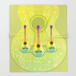 Polygonal guitar silhouette Throw Blanket