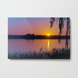 Beautiful sunset over the lake Metal Print