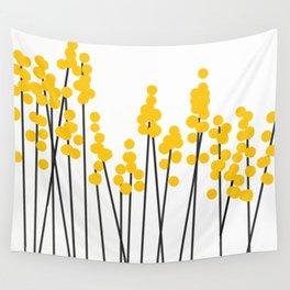Hello Spring! Yellow/Black Retro Plants on White #decor #society6 #buyart Wall Tapestry