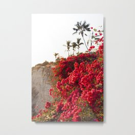 Bougainvillea & Palm Trees Metal Print