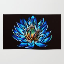 Multi Eyed Blue Water Lily Flower Rug
