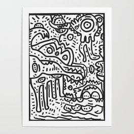 Cool Graffiti Art Doodle Black and White Monsters Scene Poster