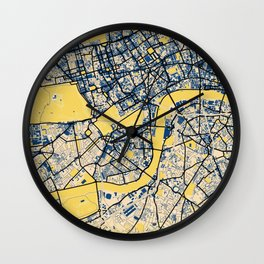 London Yellow City Map Wall Clock