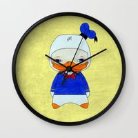 donald duck Wall Clocks featuring A Boy - Donald Duck by Christophe Chiozzi