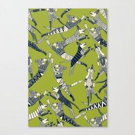 dog party indigo citron Canvas Print