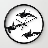 killer whale Wall Clocks featuring Killer Whale Pod by Graeme McMillan