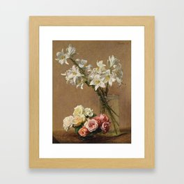 Henri Fantin-Latour - Roses And Lilies Framed Art Print