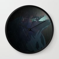 pacific rim Wall Clocks featuring Kaiju from Pacific Rim by Thecansone