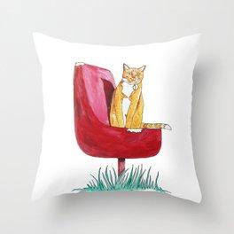 Rusty Cat Throw Pillow