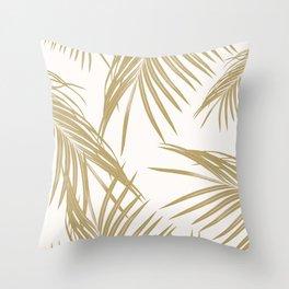 Gold Palm Leaves Dream #1 #tropical #decor #art #society6 Throw Pillow