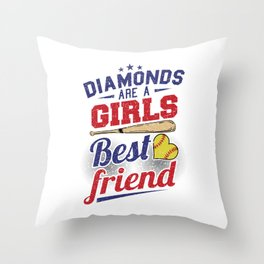 Softball bat baseball diamond Throw Pillow