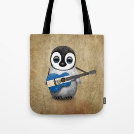 Baby Penguin Playing Salvadorian Flag Acoustic Guitar Tote Bag