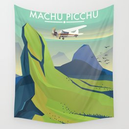 machu picchu travel poster Wall Tapestry