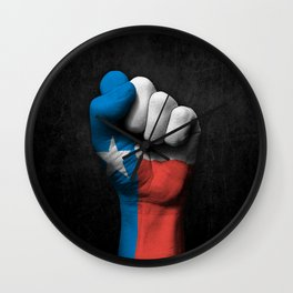 Texas Flag on a Raised Clenched Fist Wall Clock
