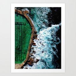 An aerial shot of an ocean rock pool in Bronte beach, Sydney Australia Art Print