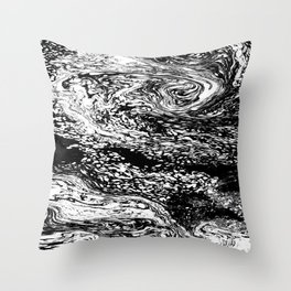 Black and White Mosaic Marble Swirl Abstract Throw Pillow